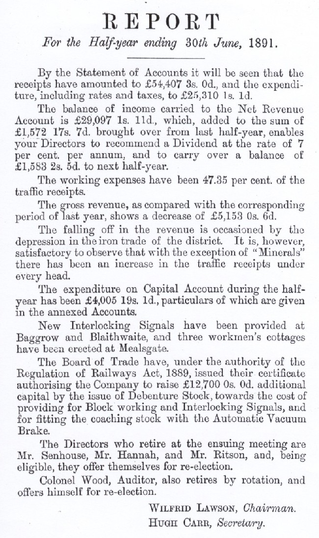 Maryport and Carlisle Railway Half year report 1891