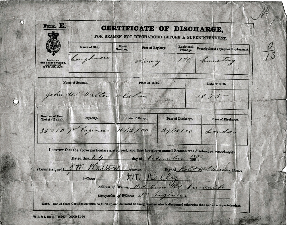 Coughmore Discharge Certificate