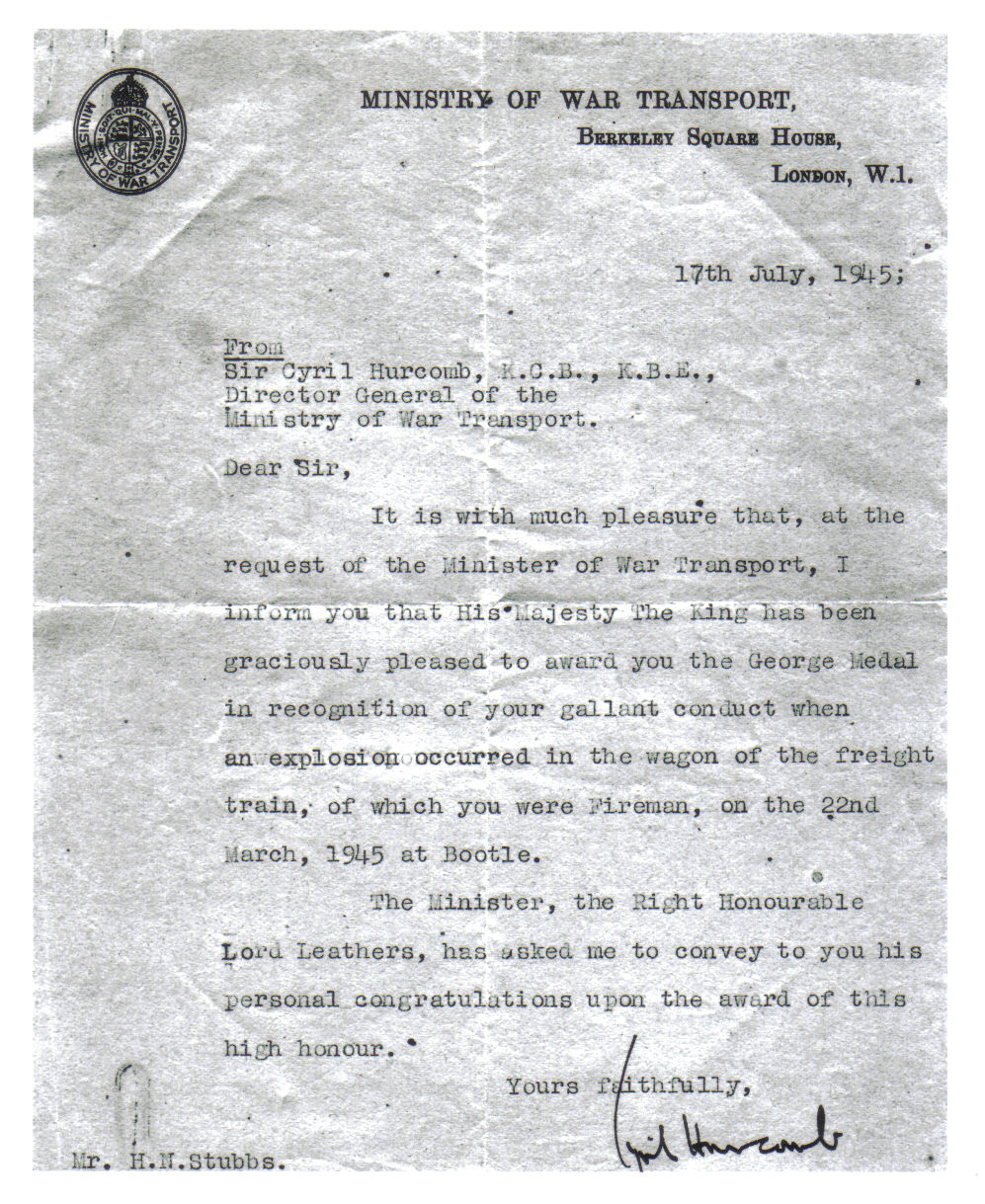 George Medal Letter from Ministry of Transport 1945